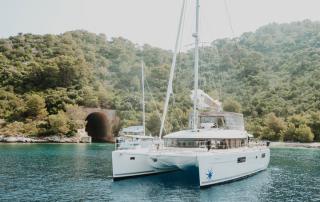 catamaran moored in lastovo near the submarine tunnel