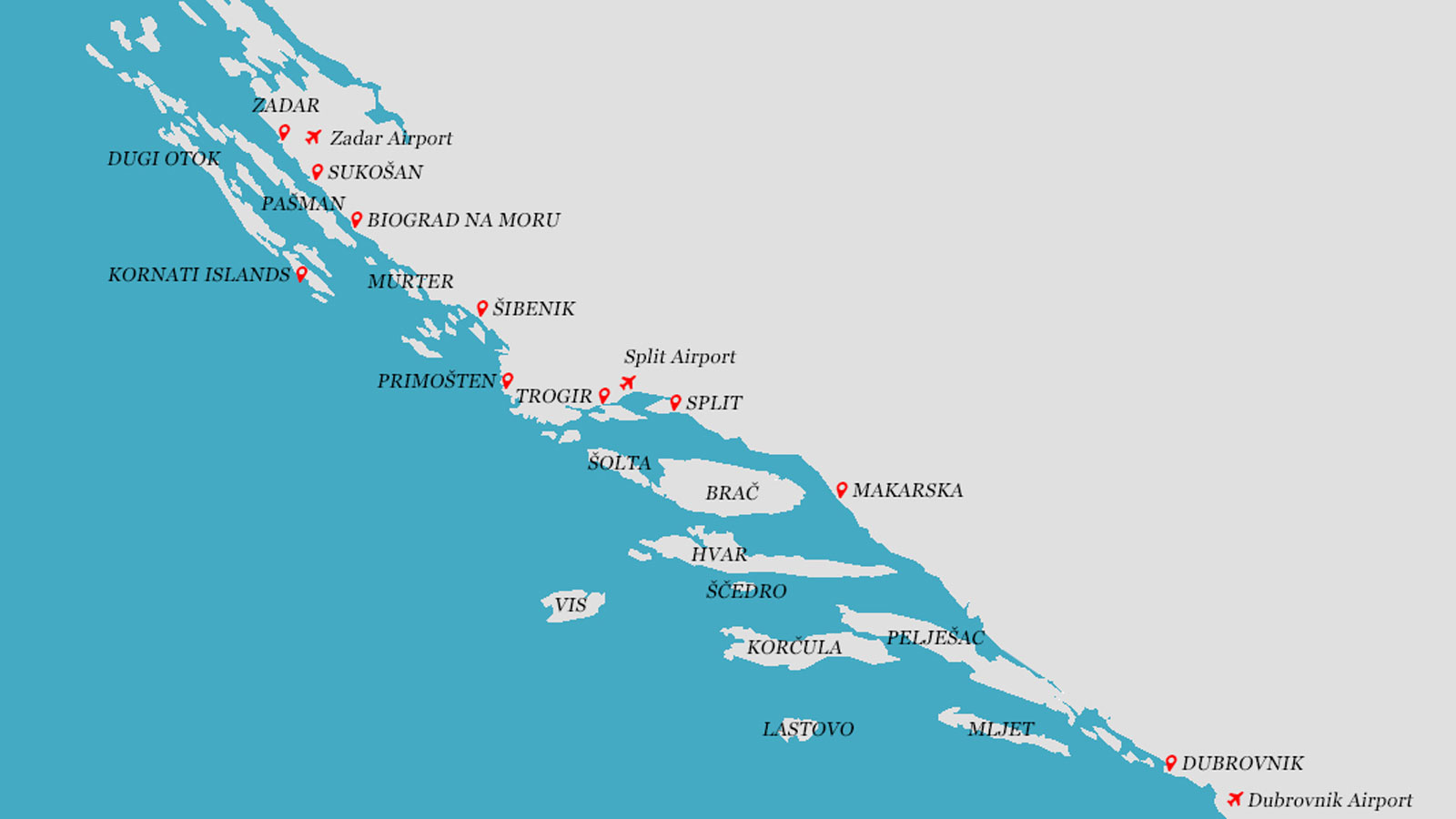 Dalmatian coast sailing map